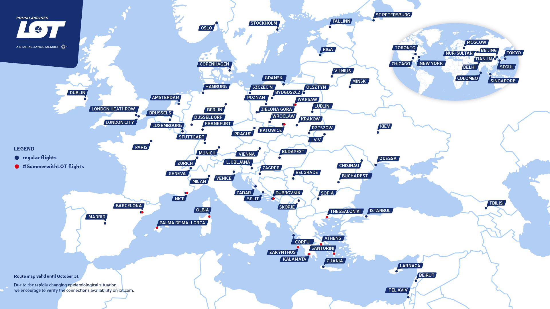 Mapa destinacija, Varšava